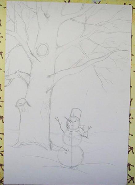 Рисунки на тему зима: что можно нарисовать красками и карандашом risunki na temu zima detskie 58