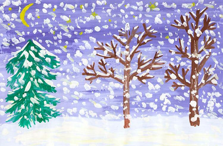 Рисунки на тему зима: что можно нарисовать красками и карандашом risunki na temu zima detskie 6