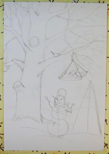Рисунки на тему зима: что можно нарисовать красками и карандашом risunki na temu zima detskie 60