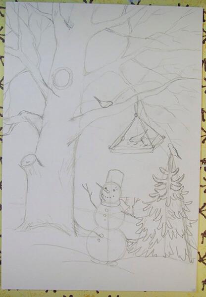 Рисунки на тему зима: что можно нарисовать красками и карандашом risunki na temu zima detskie 61
