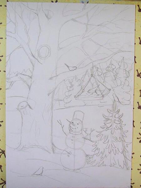 Рисунки на тему зима: что можно нарисовать красками и карандашом risunki na temu zima detskie 62