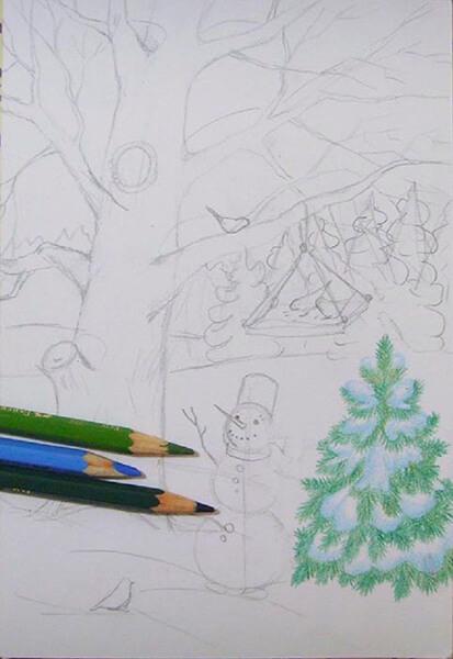 Рисунки на тему зима: что можно нарисовать красками и карандашом risunki na temu zima detskie 63
