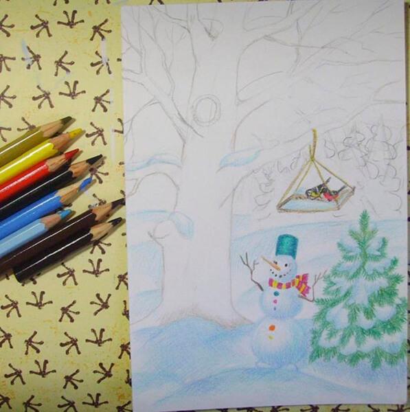 Рисунки на тему зима: что можно нарисовать красками и карандашом risunki na temu zima detskie 64