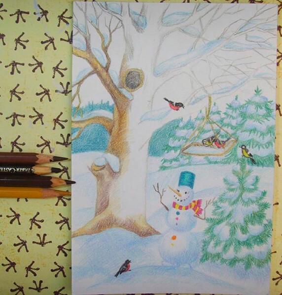 Рисунки на тему зима: что можно нарисовать красками и карандашом risunki na temu zima detskie 65