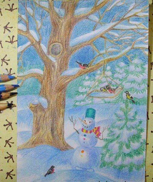 Рисунки на тему зима: что можно нарисовать красками и карандашом risunki na temu zima detskie 66
