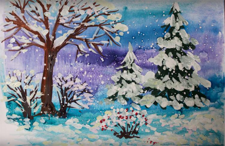 Рисунки на тему зима: что можно нарисовать красками и карандашом risunki na temu zima detskie 67