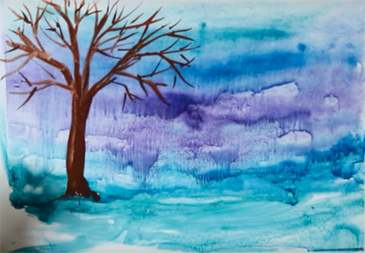 Рисунки на тему зима: что можно нарисовать красками и карандашом risunki na temu zima detskie 69