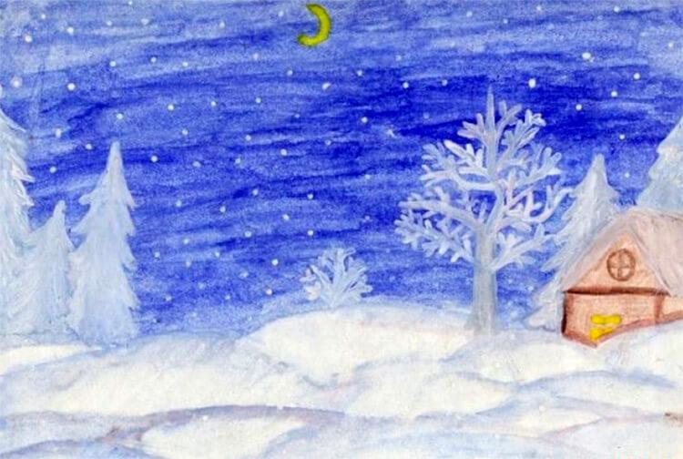 Рисунки на тему зима: что можно нарисовать красками и карандашом risunki na temu zima detskie 7