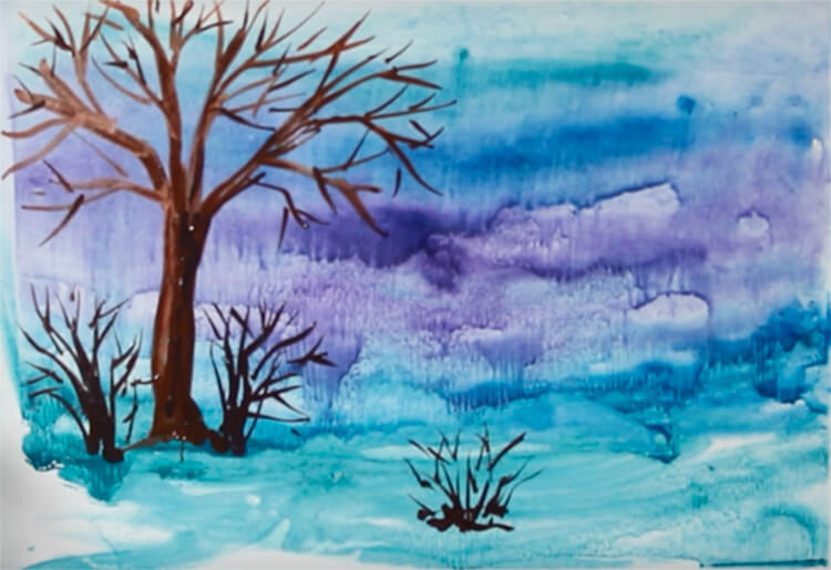 Рисунки на тему зима: что можно нарисовать красками и карандашом risunki na temu zima detskie 70