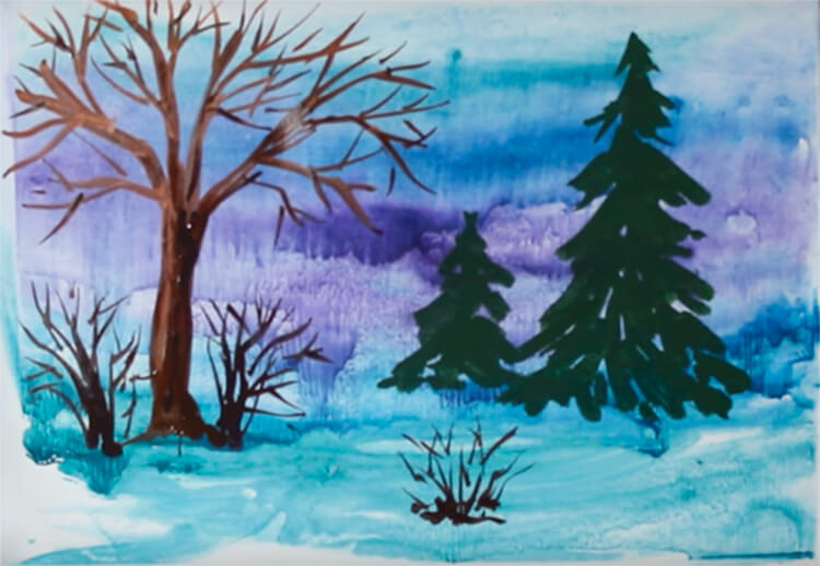 Рисунки на тему зима: что можно нарисовать красками и карандашом risunki na temu zima detskie 71