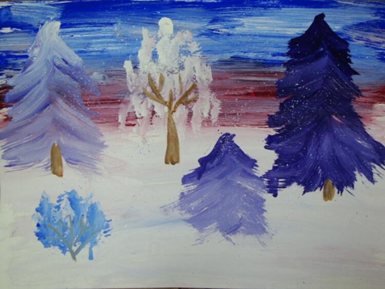 Рисунки на тему зима: что можно нарисовать красками и карандашом risunki na temu zima detskie 83
