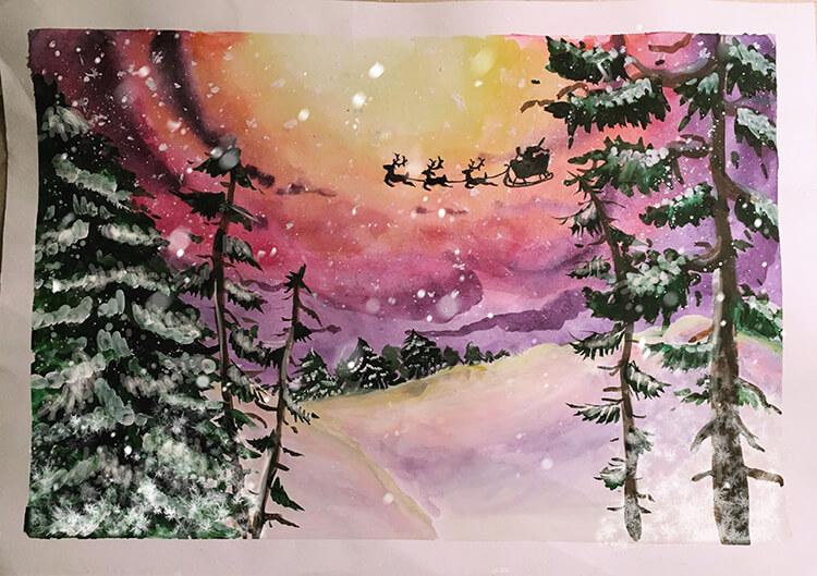 Рисунки на тему зима: что можно нарисовать красками и карандашом risunki na temu zima detskie 84