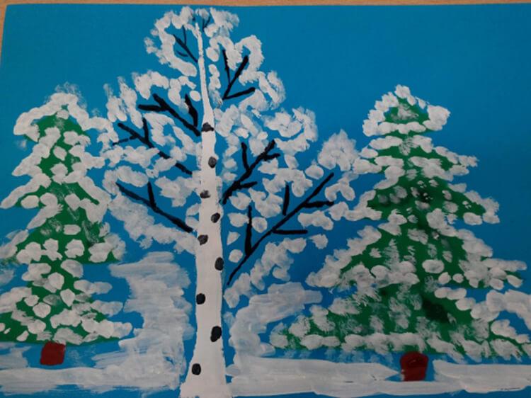 Рисунки на тему зима: что можно нарисовать красками и карандашом risunki na temu zima detskie 85