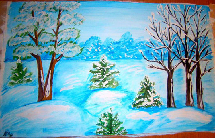 Рисунки на тему зима: что можно нарисовать красками и карандашом risunki na temu zima detskie 96