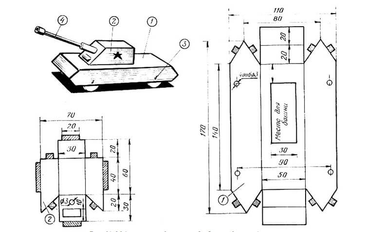 Поделка Танк из различных материалов: отличный подарок на 23 февраля tank svoimi rukami 36