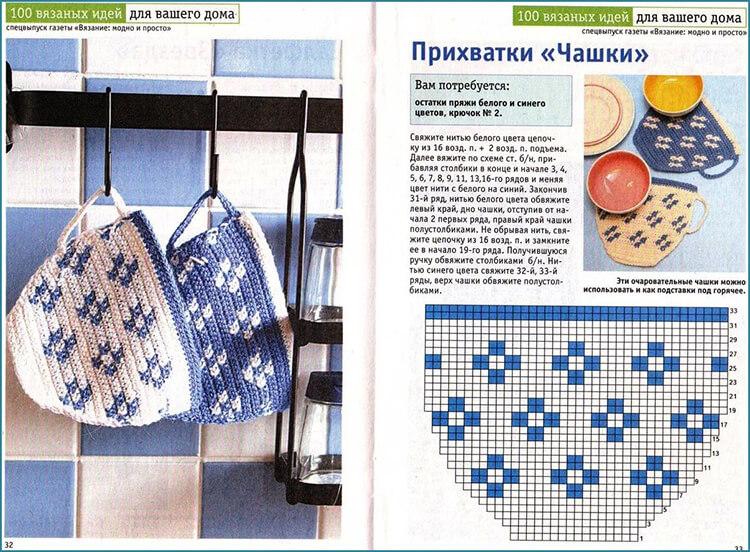 Вязаные прихватки крючком: примеры с фото и схемами vyazanye prihvatki kryuchkom 18