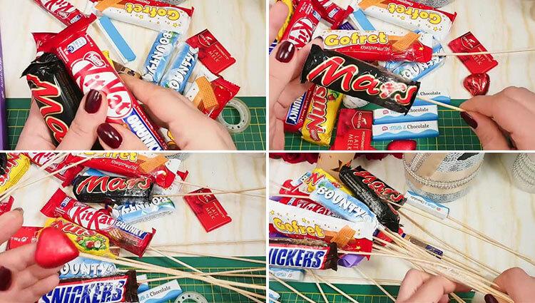 Красивый и сладкий букет из конфет на 8 марта: мастер классы с фото 24 27