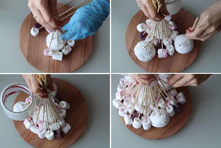 Красивый и сладкий букет из конфет на 8 марта: мастер классы с фото 40 43