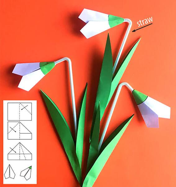 Поделка Подснежники из различных материалов: мастер классы с фото Podsnezhniki svoimi rukami 5