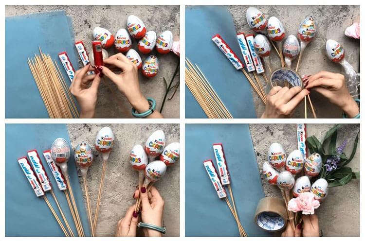 Красивый и сладкий букет из конфет на 8 марта: мастер классы с фото bukety iz konfet svoimi rukami 152