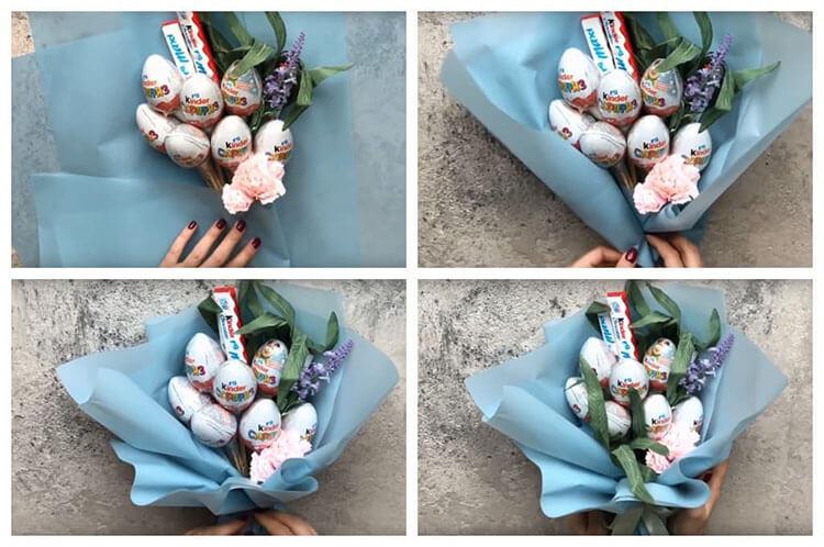 Красивый и сладкий букет из конфет на 8 марта: мастер классы с фото bukety iz konfet svoimi rukami 153