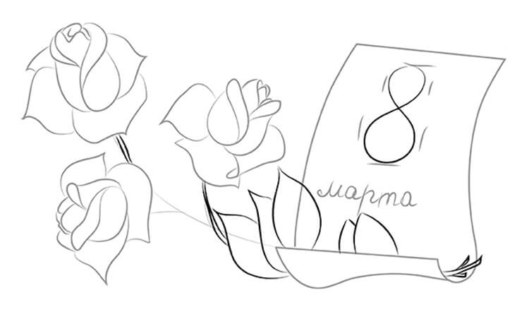 Что можно нарисовать на 8 марта для мамы и бабушки risunki k 8 marta 44