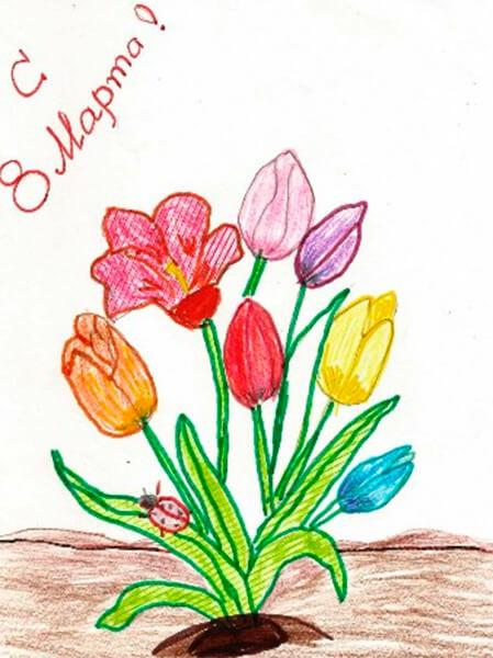 Что можно нарисовать на 8 марта для мамы и бабушки risunki k 8 marta 6