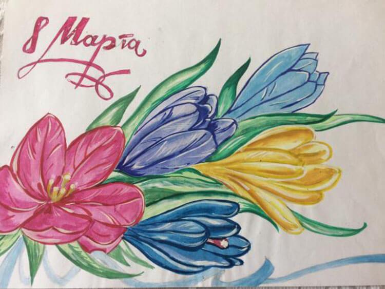 Что можно нарисовать на 8 марта для мамы и бабушки risunki k 8 marta 64