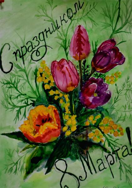 Что можно нарисовать на 8 марта для мамы и бабушки risunki k 8 marta 65