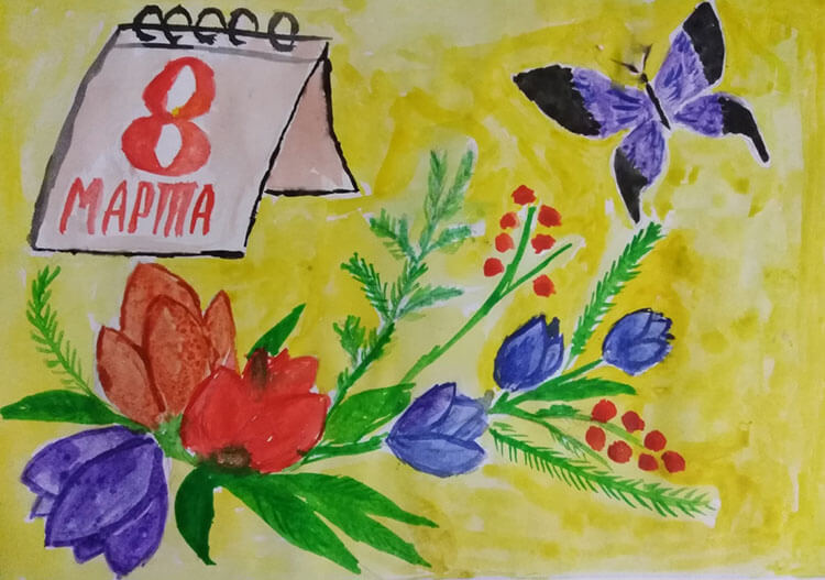 Что можно нарисовать на 8 марта для мамы и бабушки risunki k 8 marta 66