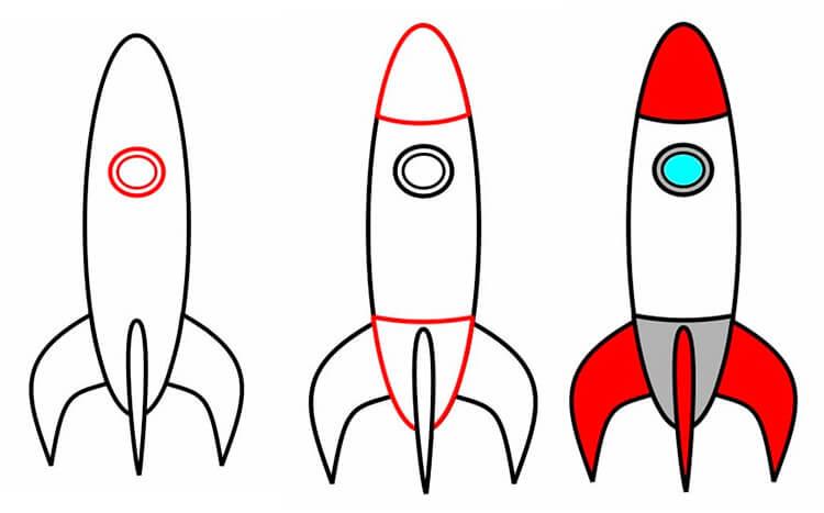 Как нарисовать рисунок на день космонавтики для сада и школы 59 61