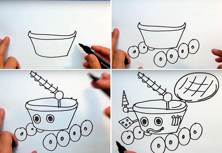 Как нарисовать рисунок на день космонавтики для сада и школы 7 10