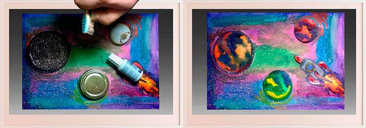 Как нарисовать рисунок на день космонавтики для сада и школы 96 97