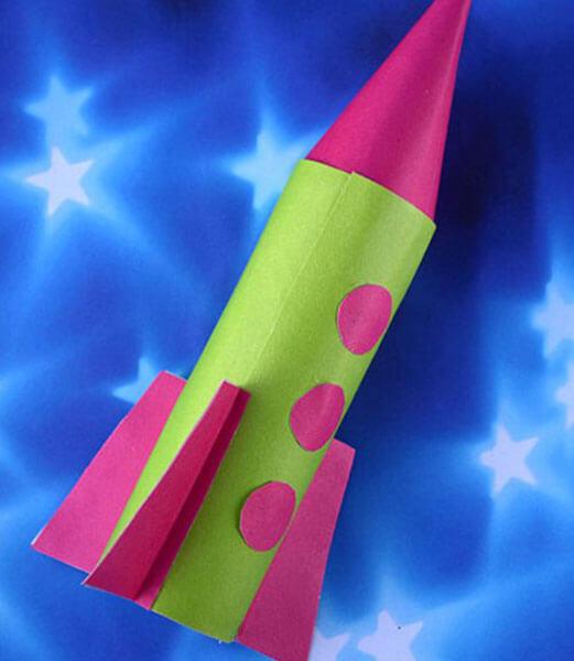 Объемная ракета из бумаги своими руками для детей шаблоны аппликация.