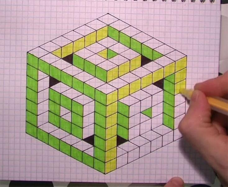 Красивые и простые рисунки по клеточкам в тетради для начинающих graficheskie risunki po kletochkam 181