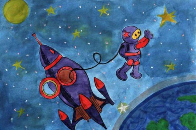 Как нарисовать рисунок на день космонавтики для сада и школы risunok na den kosmonavtiki dlya detej 1