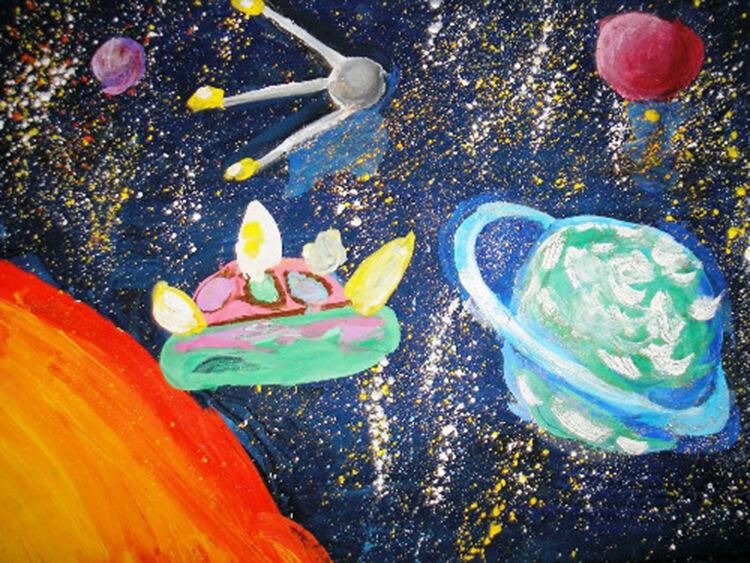 Как нарисовать рисунок на день космонавтики для сада и школы risunok na den kosmonavtiki dlya detej 101