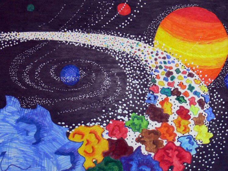 Как нарисовать рисунок на день космонавтики для сада и школы risunok na den kosmonavtiki dlya detej 102