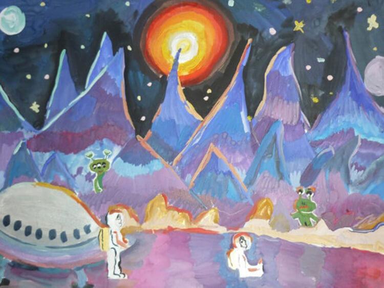 Как нарисовать рисунок на день космонавтики для сада и школы risunok na den kosmonavtiki dlya detej 105