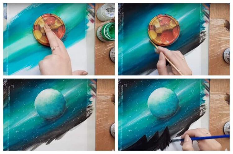 Как нарисовать рисунок на день космонавтики для сада и школы risunok na den kosmonavtiki dlya detej 107