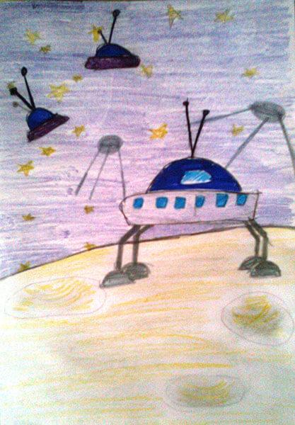 Как нарисовать рисунок на день космонавтики для сада и школы risunok na den kosmonavtiki dlya detej 12