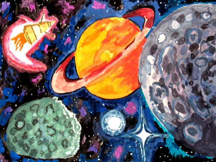 Как нарисовать рисунок на день космонавтики для сада и школы risunok na den kosmonavtiki dlya detej 16