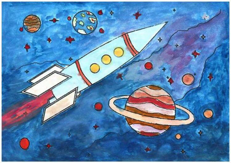 Как нарисовать рисунок на день космонавтики для сада и школы risunok na den kosmonavtiki dlya detej 18