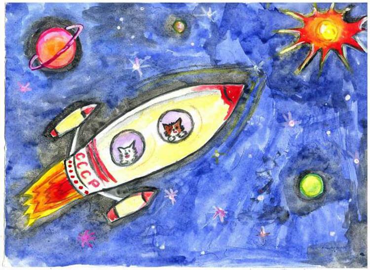 Как нарисовать рисунок на день космонавтики для сада и школы risunok na den kosmonavtiki dlya detej 19