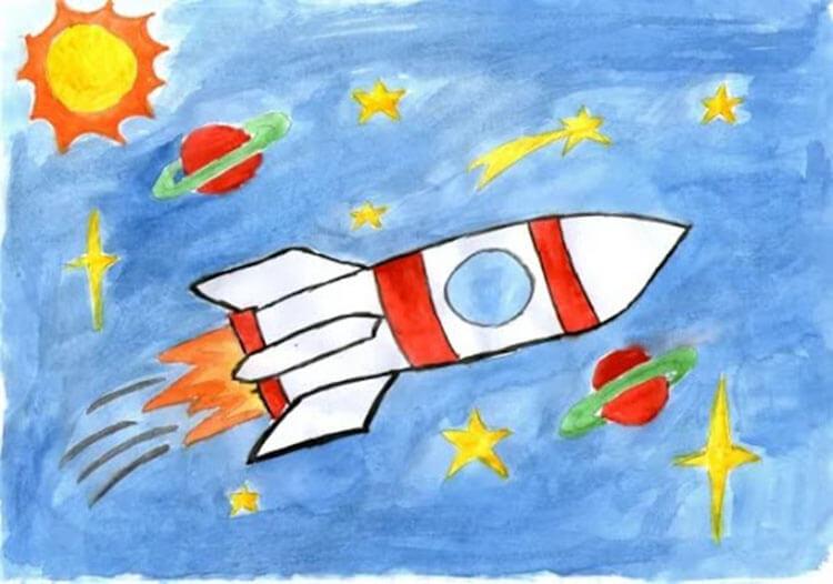 Как нарисовать рисунок на день космонавтики для сада и школы risunok na den kosmonavtiki dlya detej 21