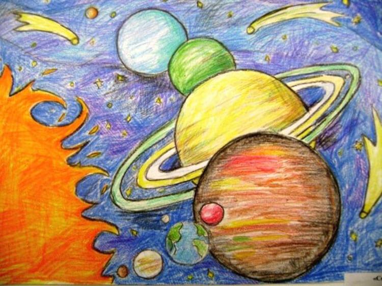 Как нарисовать рисунок на день космонавтики для сада и школы risunok na den kosmonavtiki dlya detej 22