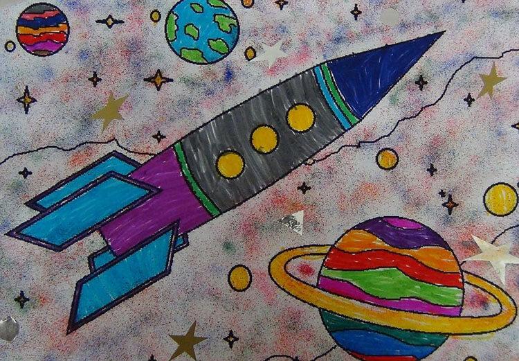 Как нарисовать рисунок на день космонавтики для сада и школы risunok na den kosmonavtiki dlya detej 23