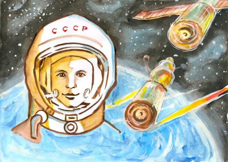Как нарисовать рисунок на день космонавтики для сада и школы risunok na den kosmonavtiki dlya detej 24