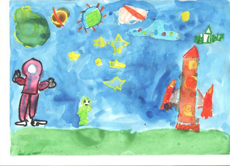 Как нарисовать рисунок на день космонавтики для сада и школы risunok na den kosmonavtiki dlya detej 36