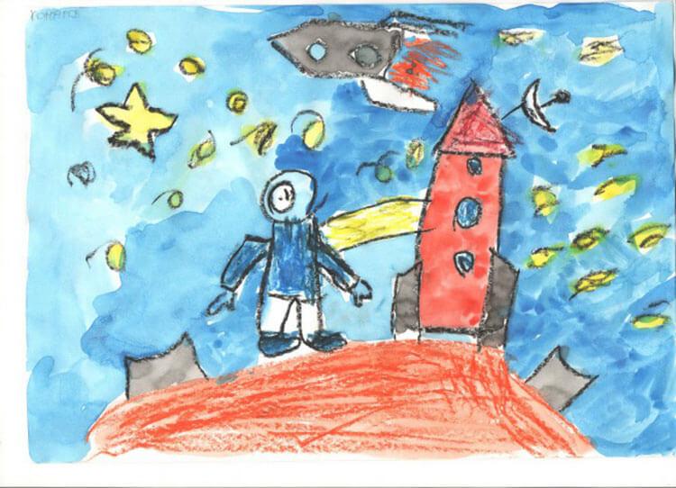 Как нарисовать рисунок на день космонавтики для сада и школы risunok na den kosmonavtiki dlya detej 37